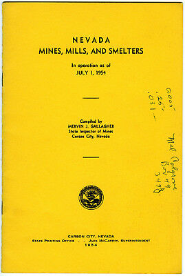 "1954 Booklet ""Nevada Mines, Mills and Smelters In Operation As Of July 1, 1954"""