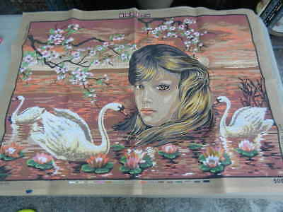 Large TAPESTRY CANVAS Unworked NEW Girl with Swans