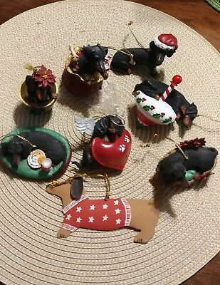 Dachshund christmas ornaments set of 7 & Tin One