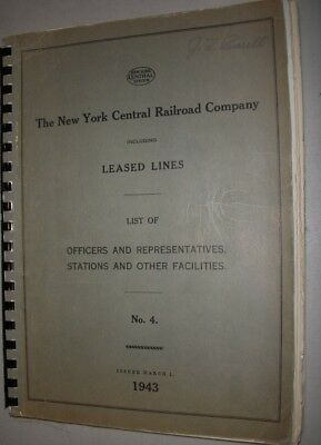 New York Central Rr Book Of Officers, Stations & Facilities - 1943