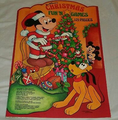 Vintage Walt Disney Christmas Fun 'N Games Activity Book 121 Pieces
