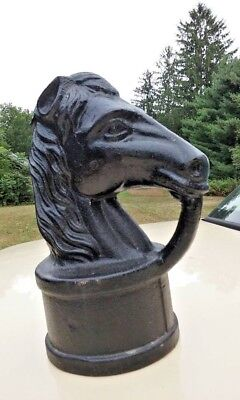 "Vintage Heavy Thick Cast Iron Horse Head Hitching Post Top 11"" Tall Look!"