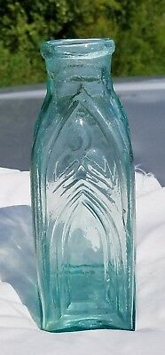 "Rare iron pontiled cathedral pickle bottle. 8 1/4"" tall by 3"" wide. Crude Top"