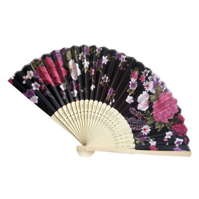 Retro Bamboo Folding Hand Flower Fan Chinese Style Dance Party Pocket Gift N YT8