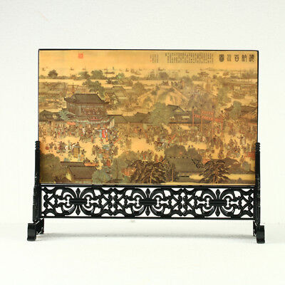 China Lacquerware Handwork Ancient Chinese Market Screen R3002+a