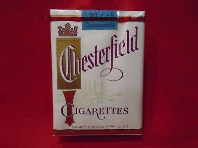 1959 Chesterfield Cigarette Pack Near Mint! Sealed Rare! Liggett & Myers Tobacco