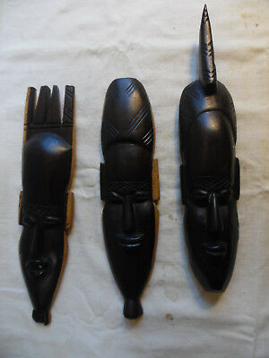 Vintage Lot Of 3 African Wall Hangings Hand Carved Ebony Wood