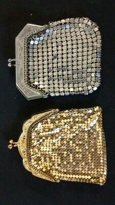 2 vintage french coin purses one gold mesh and one silver mesh