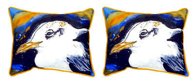 "Pair of Betsy Drake Gull Portrait Left Large Indoor/Outdoor Pillows 16"" X 20"""