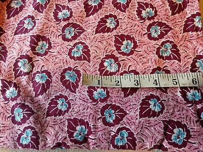Vintage Feedsack Opened Blue Flowers,Maroon Leaf, Pink Background GC Quilting