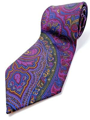 CULLWELL & SONS 100% Silk Tie Men's NWOT Red Blue Burgundy Green Paisley Necktie