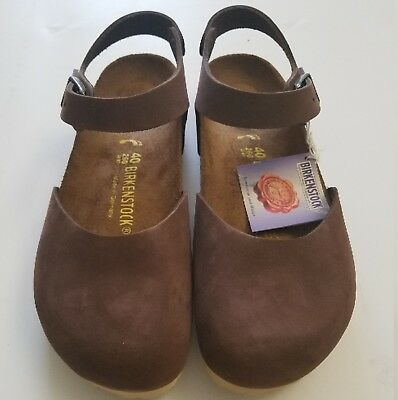 New Birkenstock Messina Brown Leather Clogs 40 Rare