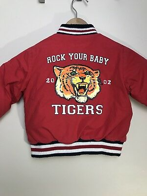 Rock Your Baby Jacket Size 2 Red Tigers Padded