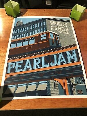 Pearl Jam Chicago Wrigley Field Poster 2018 L Train Steve Thomas
