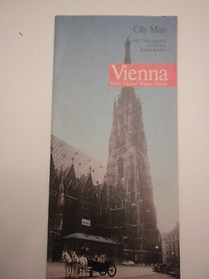 Vienna Austria City Map with Underground and Rapid Transit Routes from 1979