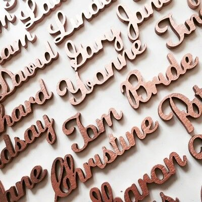 Rose Gold, Gold or Silver Personalised Wood Place Table names Weddings Party