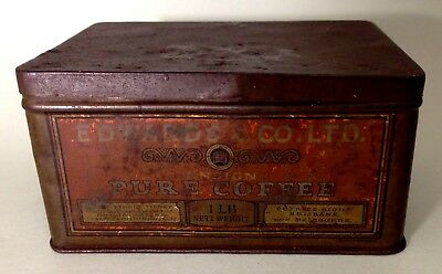 Antique coffee tin Edwards & Co. 1lb weight Petries & Bight Melbourne/Brisbane