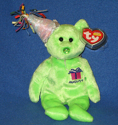TY AUGUST the BIRTHDAY BEAR BEANIE BABY - MINT with NEAR MINT TAG - SEE PICS