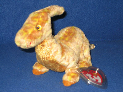 TY TOOTER the DINOSAUR BEANIE BABY - MINT with NEAR PERFECT TAG - SEE PICS