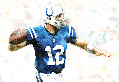 NEW & RARE Andrew Luck Indianapolis Colts Art Print 12x18 s/n by artist