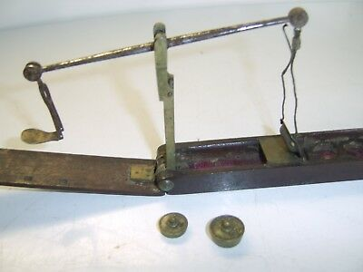 RARE Set of antique sovereign guinea balance scales with weights original case.
