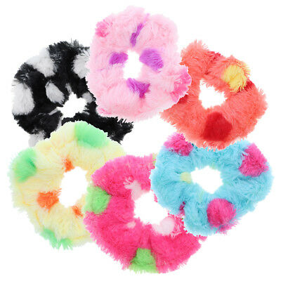 6 Soft Fur Scrunchies Stretchy Colorful Mix Hair Bobbles Pony Holder