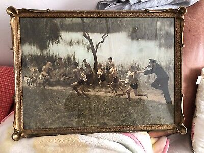 Art Nouveau Frame With Photo Of Policeman Chasing Boys