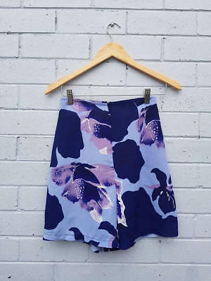 Vintage 1960s Blue Abstract Floral Print High Waisted Flare Mini Shorts Small
