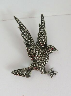VINTAGE Sterling SILVER  Marcasite Flying Bird Costume Brooch