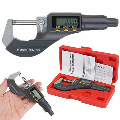 """0-1"""" 0.00005"""" LCD Digital Electronic Outside Micrometer Carbide Tip 0-25mm Set"""