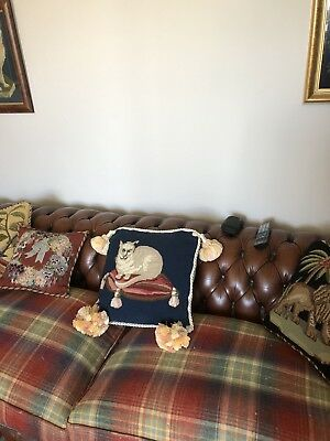Elizabeth Bradely Cream Cat Completed Tapestry Cushion