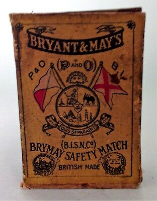 Antique collectable British Bryant & May's P & O B.I.S.N.Co. safety matches