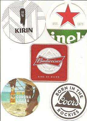 5 different international Brewery Beermat/Coasters issued in Australia