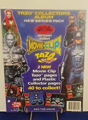 Batman and Robin Sealed 40 Movie Clip Tazos, 2 backing and plastic pages