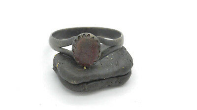 Post medieval period silver ring with gemstone. 18 Century.
