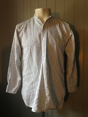 Vtg 1940s British Collarless Workwear Overhead Smock Shirt