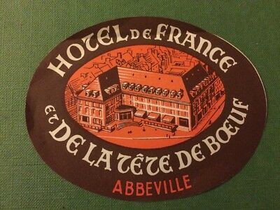 1930s Hotel de France et de la Tete de Boeuf Abbeville luggage label