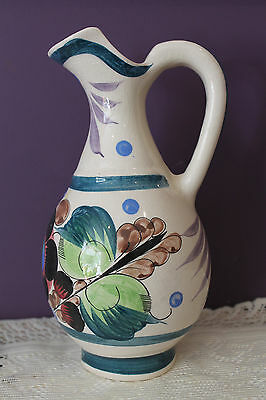 Vintage Tonala Style Pottery Pitcher Hand Painted - Signed P. J. Mexico