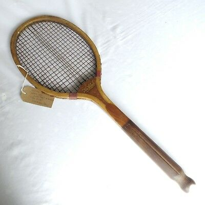 "Vintage, rare wooden fish tail tennis racket ""The Club"""