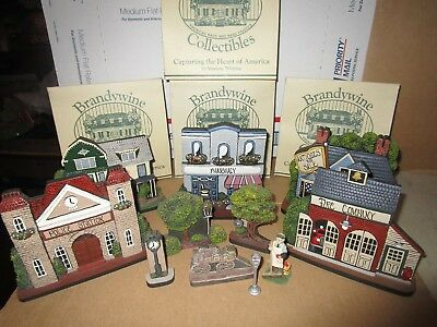 Lot Of 9 Brandywine Woodcrafts Collectible Houses & Shops Wooden Shelf Sitters +