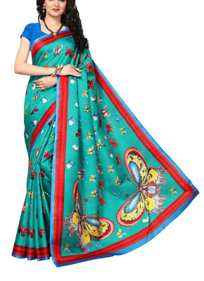 Indian Beauty Women's Green Color Khadi Jute Silk Printed Saree With Blouse