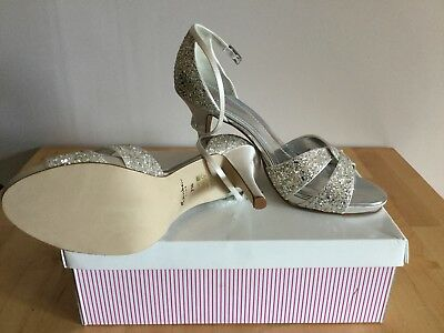 Rainbow Club Charlotte Ivory Satin and Silver Shoes Size UK 7.5