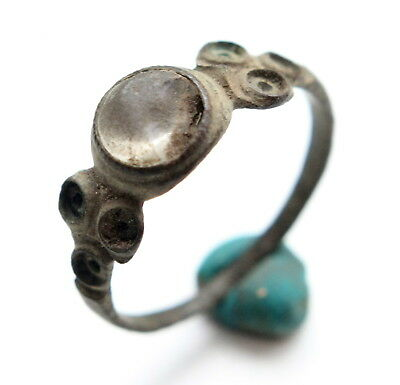 Ancient Medieval Bronze Finger Ring With Inlay (FBR)