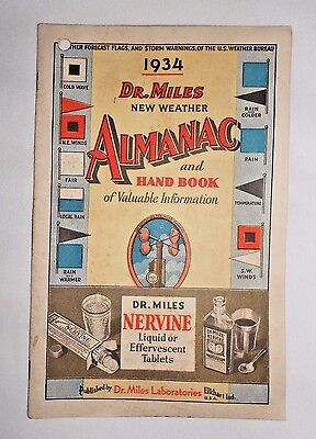 Vtg 1934 Dr. Miles Almanac and Hand book of Valuable Information Advertising