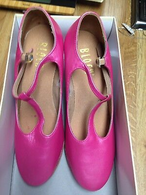 """Character Shoes Ladies Size 6  Bloch T-Strap 3"""" Heel New Painted Pink"""
