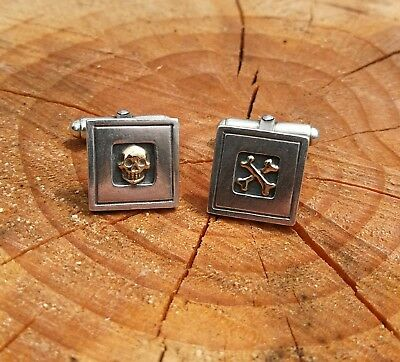925 Sterling Silver And 9ct Gold Skull And Bones Cufflinks