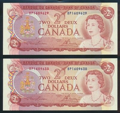 "Canada: 1974 $2 Sig. Lawson-Bouey ""CONSECUTIVE PAIR"". P86a UNC Lt hand Cat $33+"