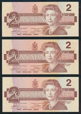 "Canada: 1986 $2 ""QEII PORTRAIT"" Sig. Thiessen-Crow LOT OF 3 NOTES. Pick 94b"