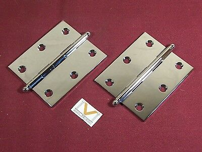 "Pair Small Hinge Cabinet Door Polished Chrome Solid Brass Ball Tip 2 1/2"" x 3"""