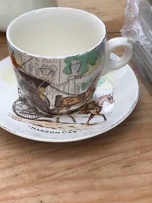 Rare Burleigh Ware (1940S)'hansom Cab' Breakfast Cup And Saucer Hand Painted